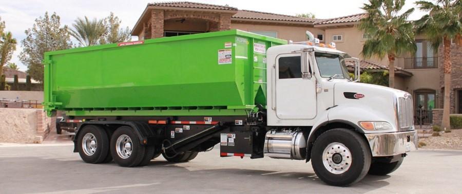 Dumpster truck green